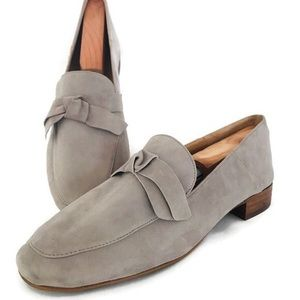 FRANCO SARTO Arthur Suede Gray Loafers with Bow